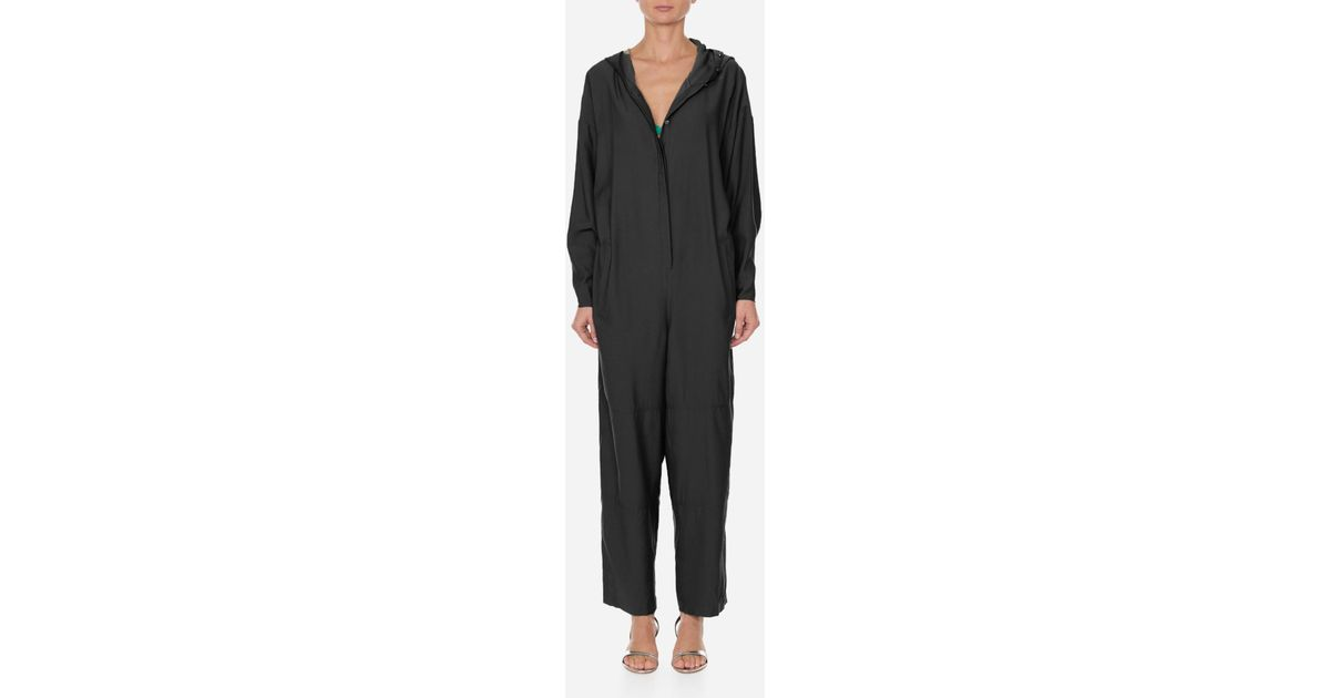 f382ccdc1d1 Tibi Hoodie Jumpsuit With Open Back in Black - Lyst