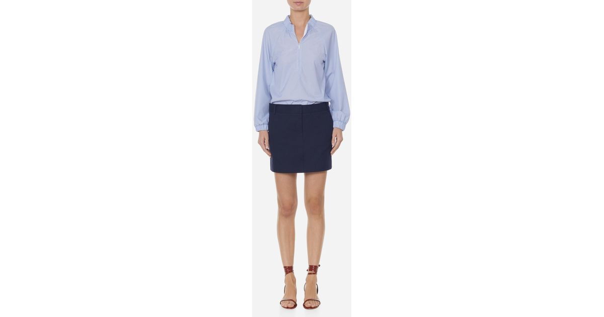 bc4c456e6465b4 Lyst - Tibi Isabelle Shirting Zip Front Tunic in Blue