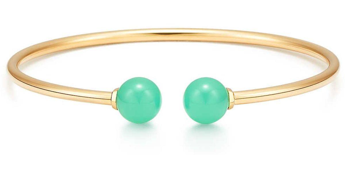 466ec6a4a Tiffany & Co. Tiffany City Hardwear Ball Wire Bracelet In 18c Gold With  Chrysoprase, Large in Metallic - Lyst