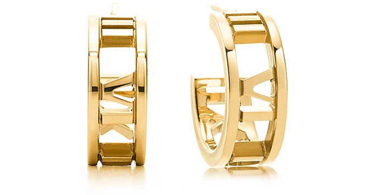 e31a05b44 Tiffany & Co. Atlas® Hoop Earrings In 18k Gold, Mini in Metallic - Lyst
