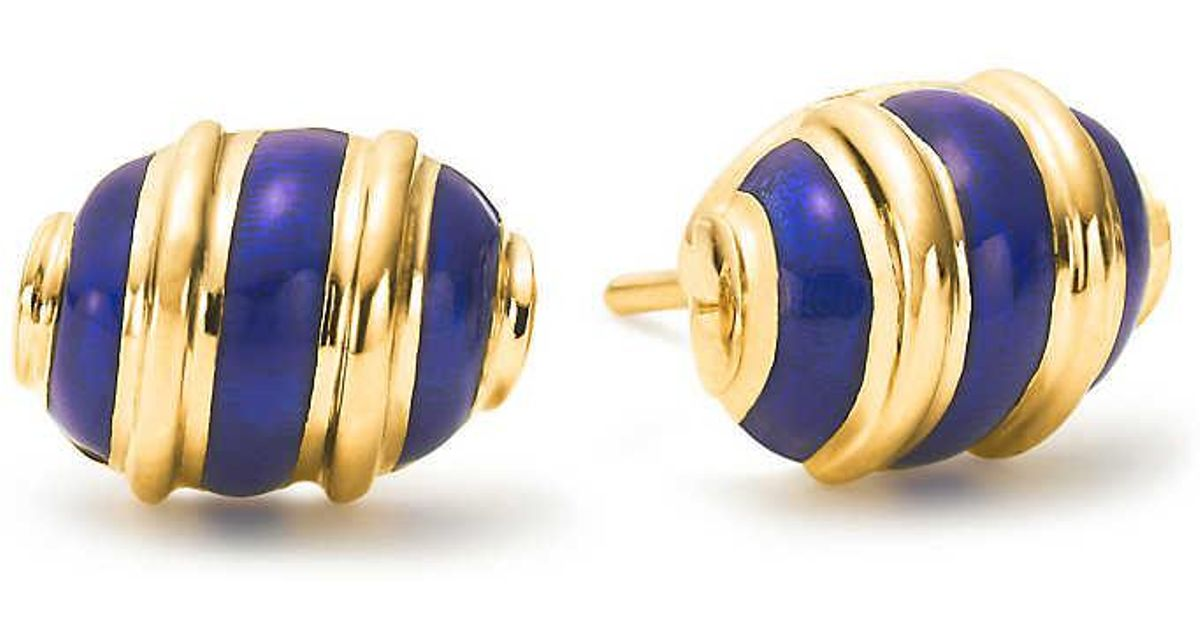 Tiffany & Co Schlumberger Olive earrings in 18k gold with blue enamel Tiffany & Co.