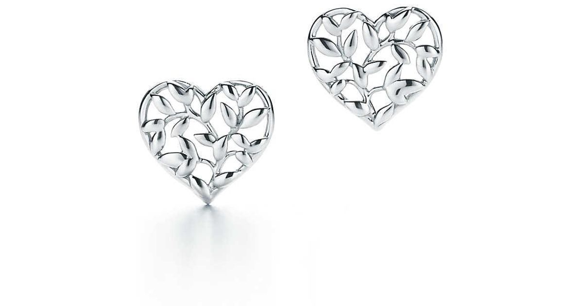Paloma Picasso Olive Leaf heart earrings in sterling silver Tiffany & Co. lWBNBzxZ