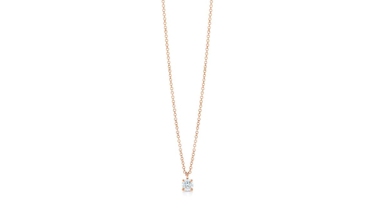 Tiffany co tiffany solitaire diamond pendant in 18k rose gold tiffany co tiffany solitaire diamond pendant in 18k rose gold size 17 in metallic lyst aloadofball Images