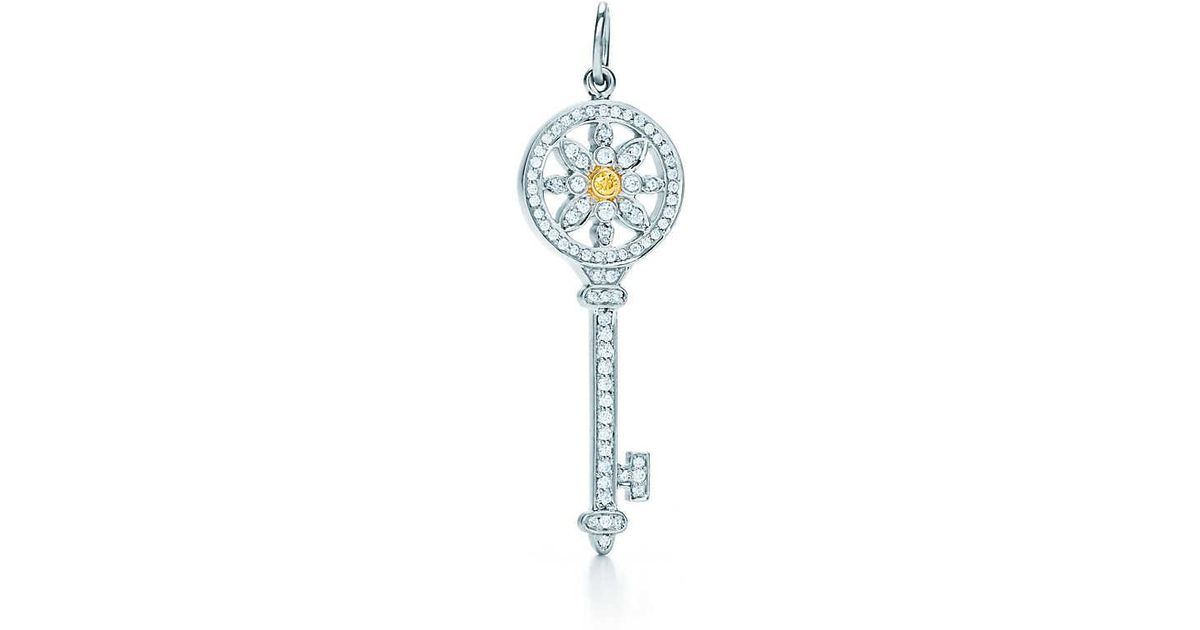 c060dcf3d Tiffany & Co. Tiffany Keys Daisy Key Pendant In Platinum And 18k Gold With  Diamonds - Size Fancy Intense Yellow in Metallic - Lyst