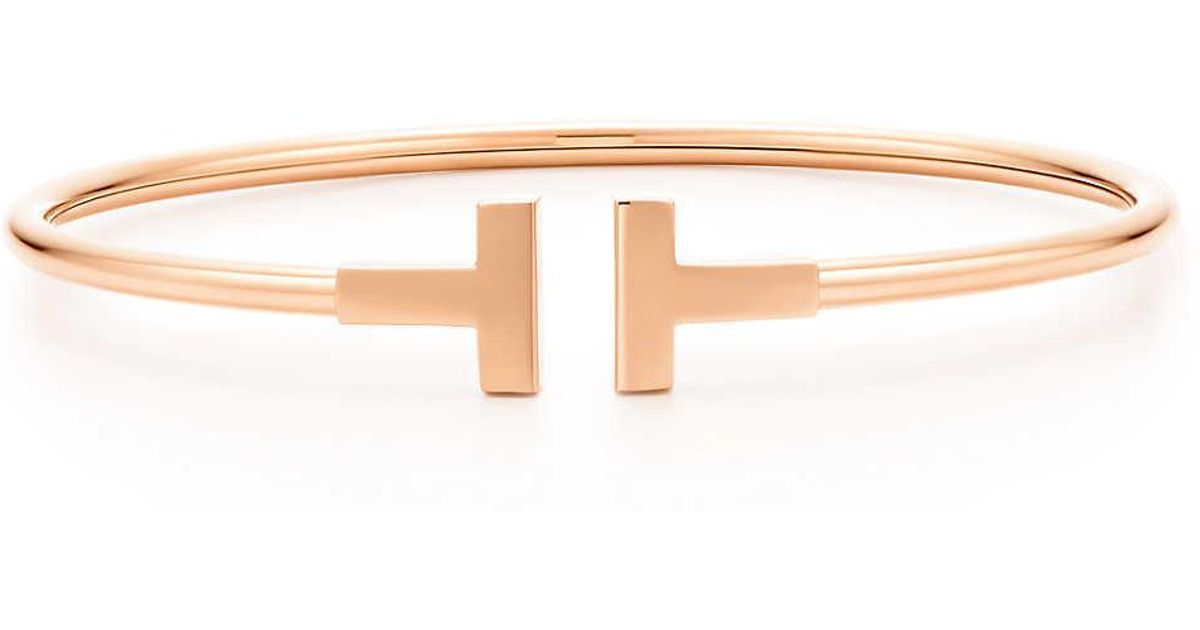 1c6ef0be4 Tiffany & Co. Tiffany T Wire Bracelet In 18k Rose Gold, Large in Pink - Lyst