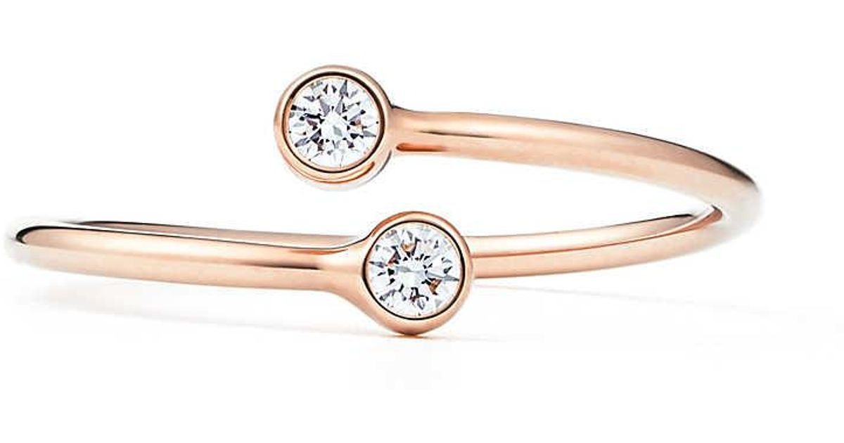 118dc752e Tiffany & Co. Elsa Peretti. Diamond Hoop Ring In 18k Rose Gold With Diamonds  - 4 in Pink - Lyst