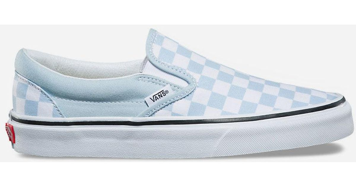 3531355c592 Lyst - Vans Checkerboard Baby Blue Womens Slip-on Shoes in Blue