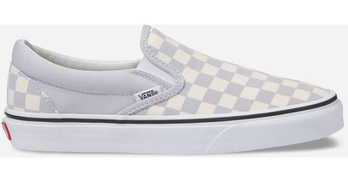 d6f902c3470 Vans Checkerboard Gray Dawn & True White Womens Slip-on Shoes in White -  Lyst