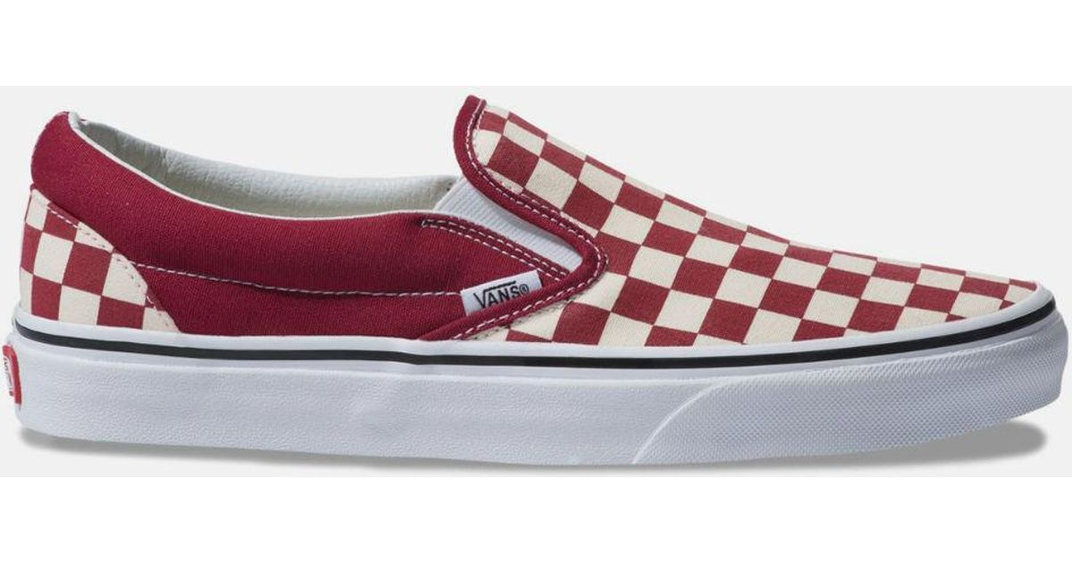 054d2169dc75 Lyst - Vans Checkerboard Classic Slip-on Rumba Red   True White Shoes in Red