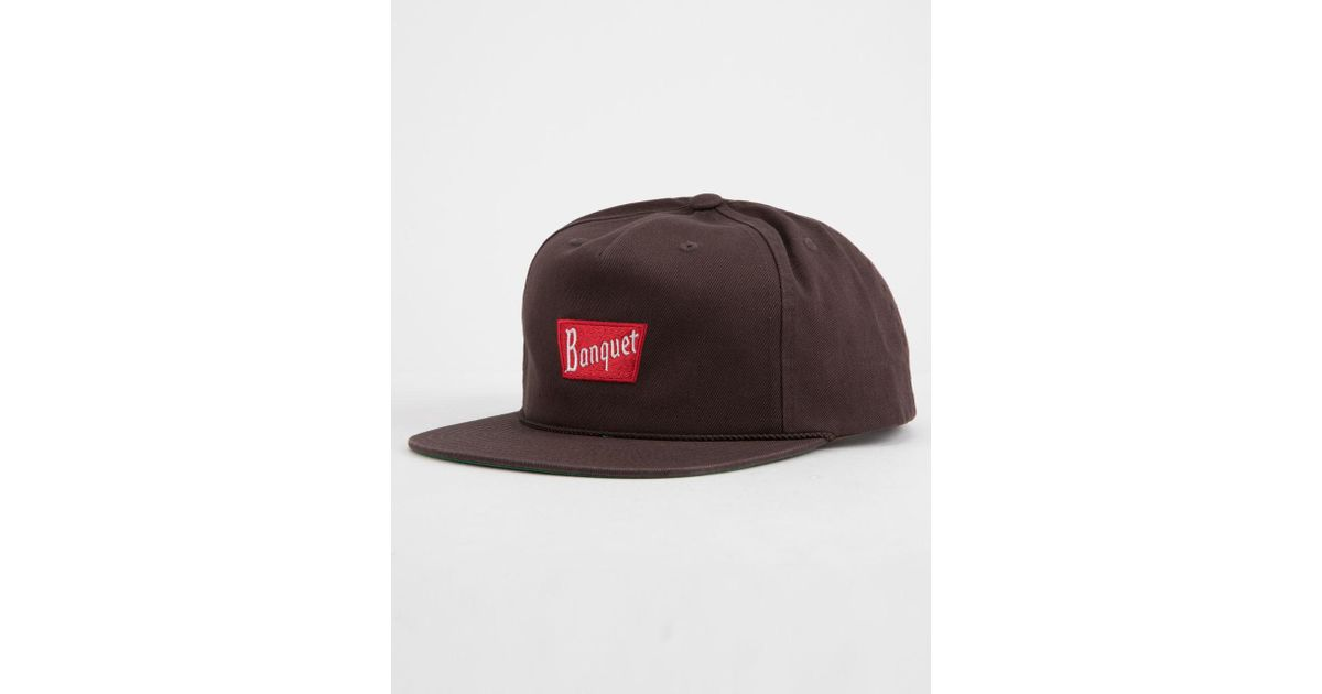 brand new c2239 860bf ... sweden lyst brixton x coors banquet brown mens snapback hat in brown  for men b33fb bc7b9