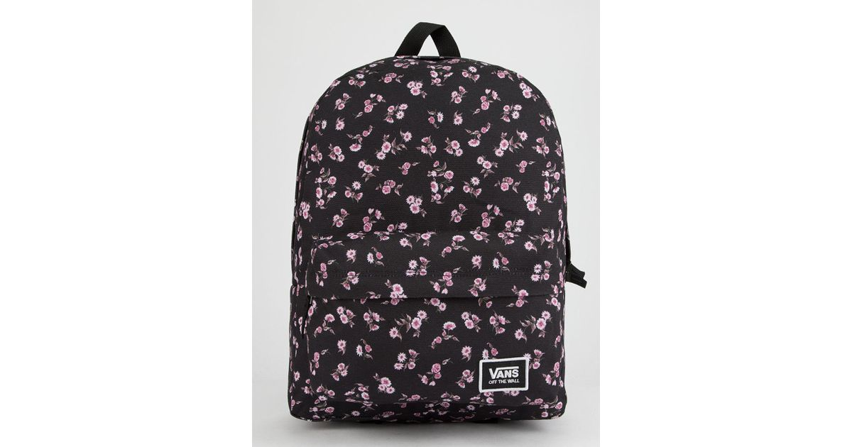 Lyst - Vans Realm Classic Black   Sundaze Floral Backpack in Black ddba9a1fbb058