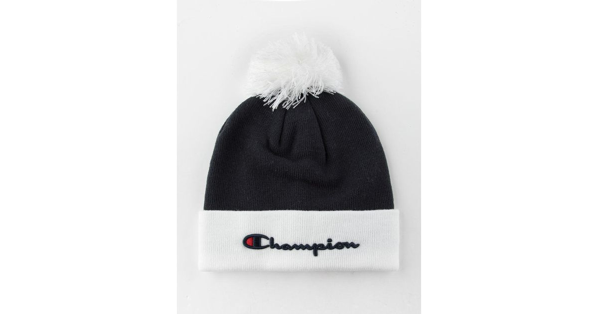 e6592b6d4a8 Lyst - Champion Embroidered Script Logo Pom Navy Mens Beanie in Blue for Men