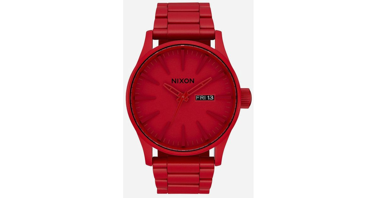 3770bcd6af4 Lyst - Nixon Doing More Sentry Ss All Red Watch in Red
