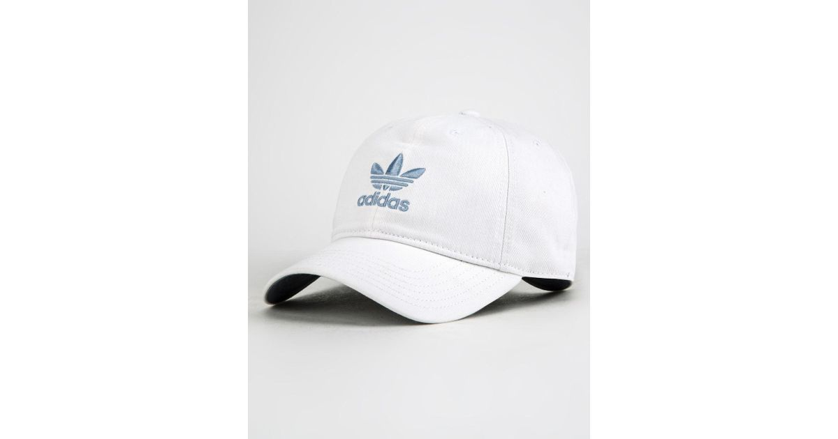 Lyst - adidas Originals Relaxed White   Chalk Blue Womens Dad Hat in White dceffdf7d0b