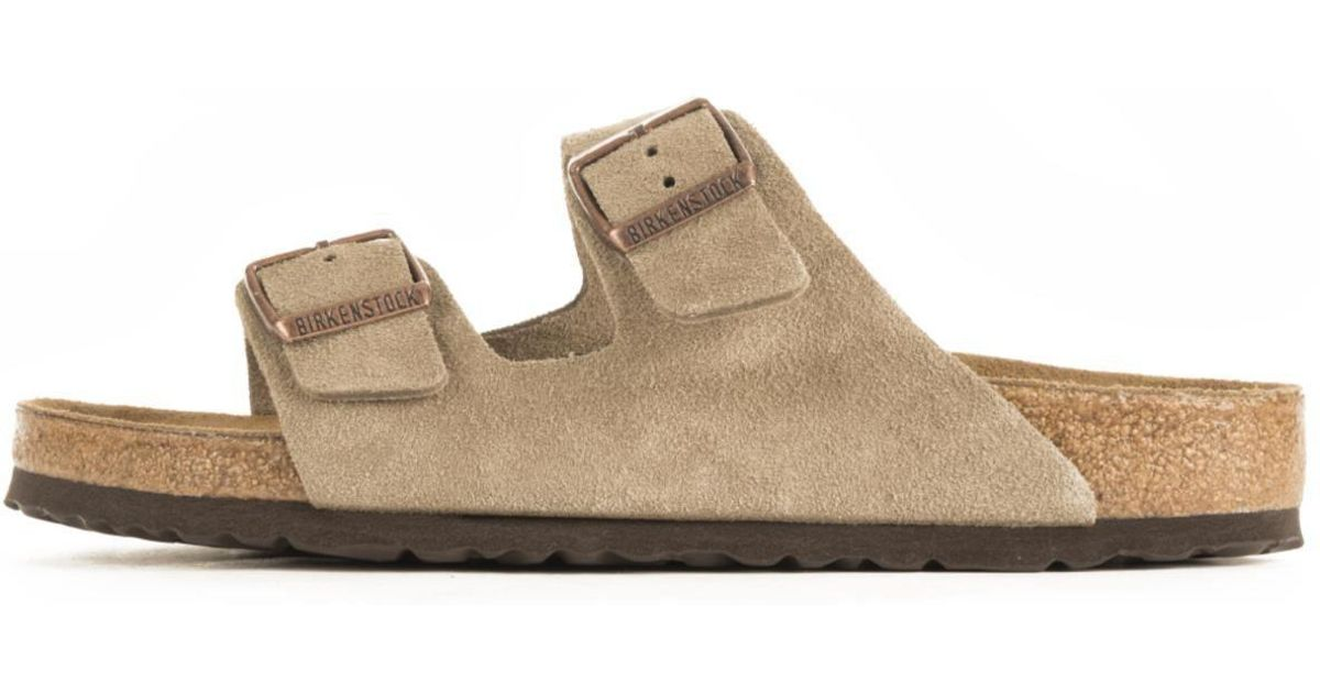 3ba68ce50419e5 Lyst - Birkenstock Unisex  Arizona Soft Footbed Taupe Suede Sandals