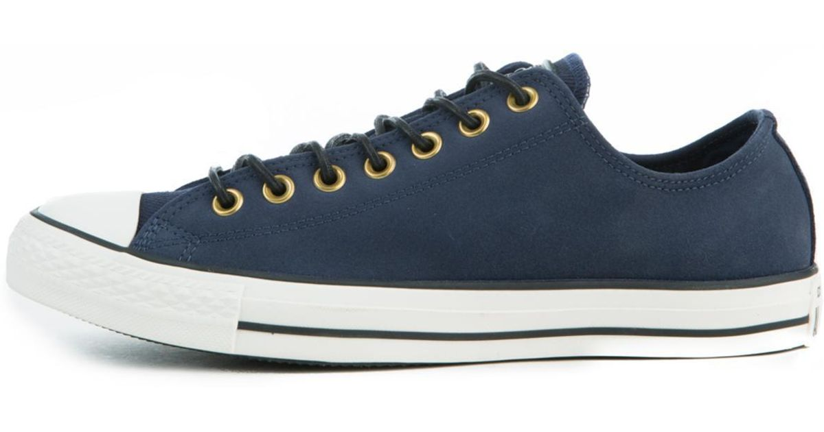 133981c94bd6 Lyst - Converse Chuck Taylor All Star Crafted Navy Blue Suede Low Tops in  Blue for Men