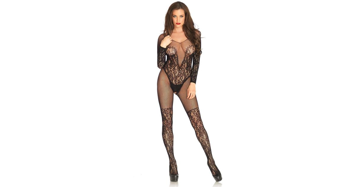 bccbbad912 Lyst - Leg Avenue Vine Lace And Net Long Sleeved Bodystocking in Black
