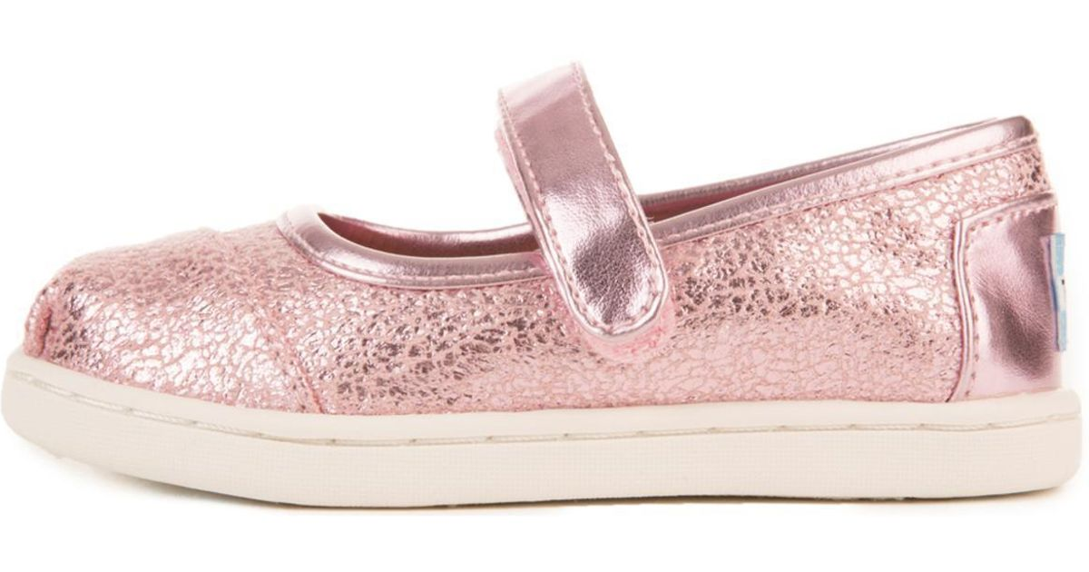 2f09182cbfb Lyst - TOMS Tiny   Pink Metallic Foil Mary Jane Flats in Pink