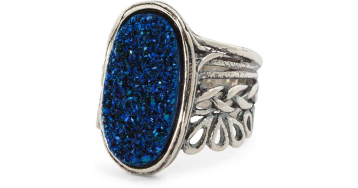 Lyst Tj Ma Made In Israel Sterling Silver Blue Drusy Quartz Ring