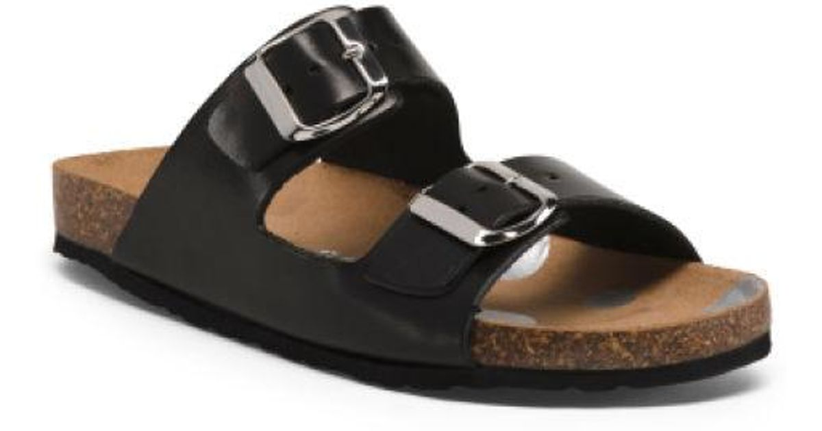 1204ee48f4f Lyst - Tj Maxx Made In Italy Double Strap Leather Sandals in Black