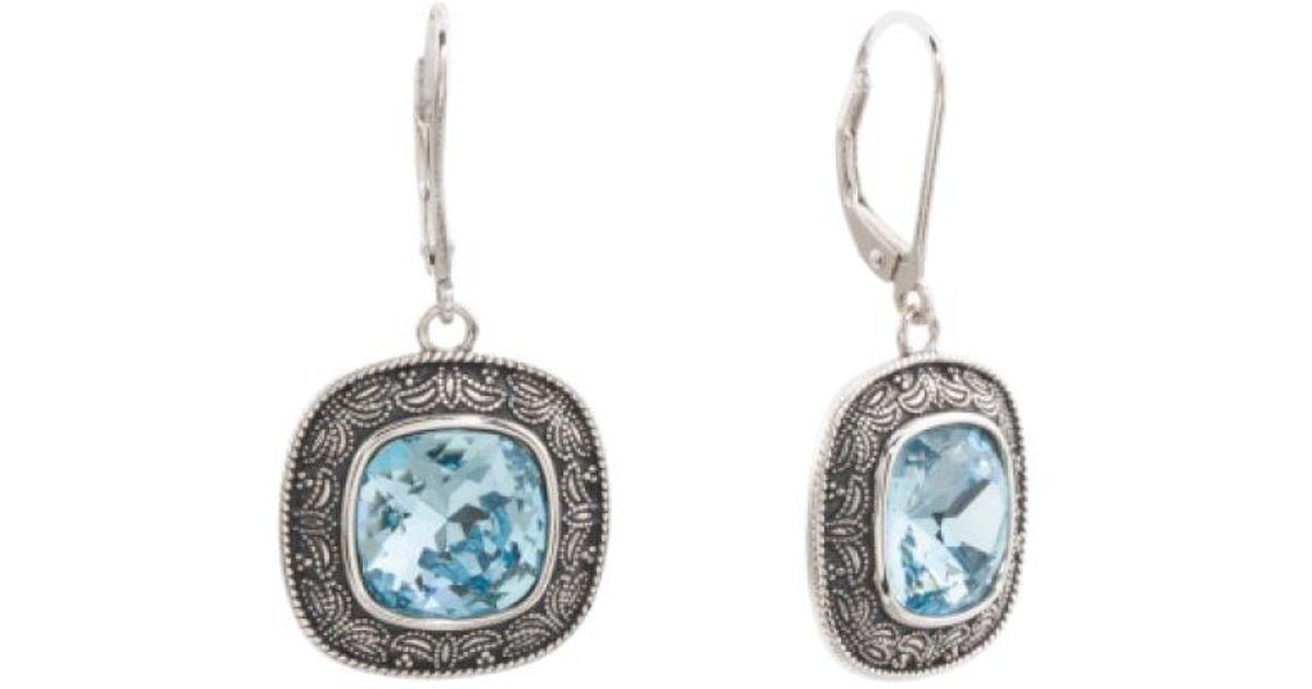 62a7f5aac Lyst - Tj Maxx Sterling Silver Swarovski Crystal Scroll Detail Earrings in  Metallic