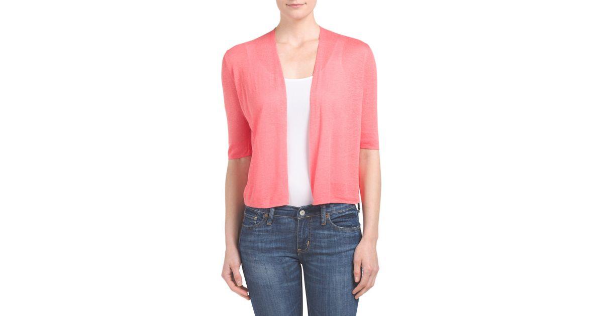Tj maxx linen blend elbow sleeve shrug in pink lyst for Tj maxx t shirts