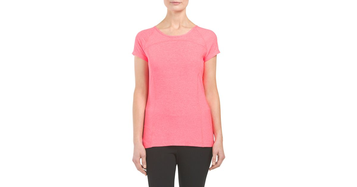 Tj maxx short sleeve active top in pink lyst for Tj maxx t shirts