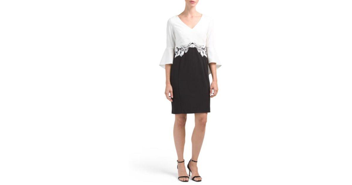 78d911e37fb20 Lyst - Tj Maxx Petite Bell Sleeve Sheath Dress in Black