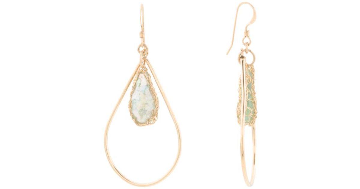 a8587de04 Lyst - Tj Maxx Made In Israel 14k Gold Filled Roman Glass Teardrop Earrings  in Metallic