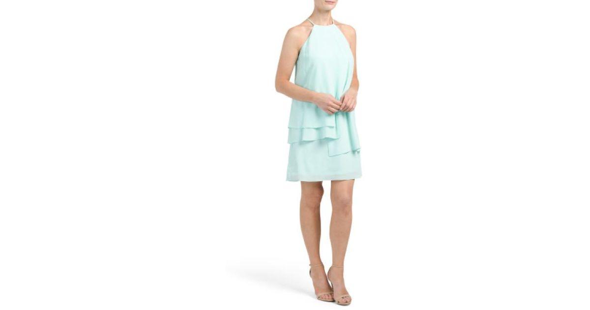 503e8d12c3d7 Lyst - Tj Maxx Young Layered Silk Shift Dress in Blue