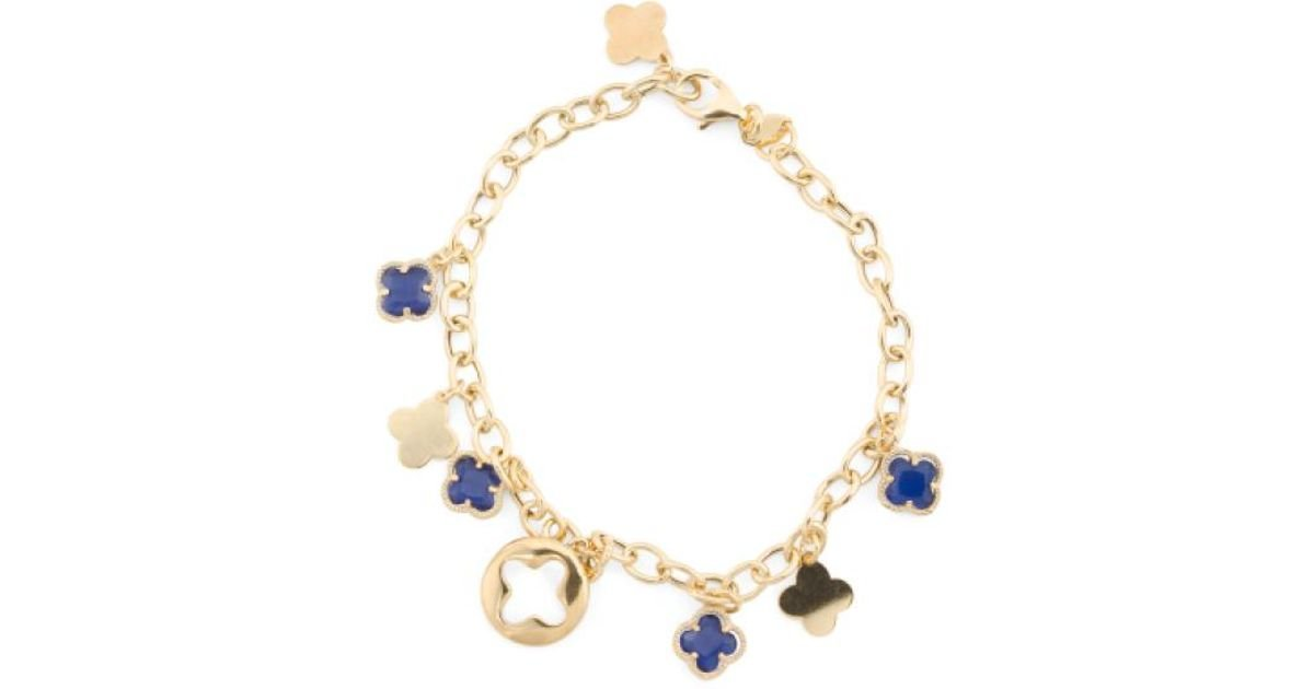 Lyst Tj Ma Made In Italy Gold Plated Sterling Silver Quatrefoil Charm Bracelet Metallic