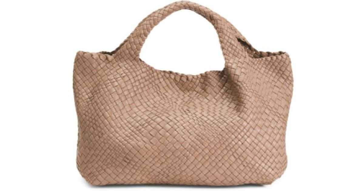 b09faca4b7a Lyst - Tj Maxx Made In Italy Woven Leather Tote in Brown