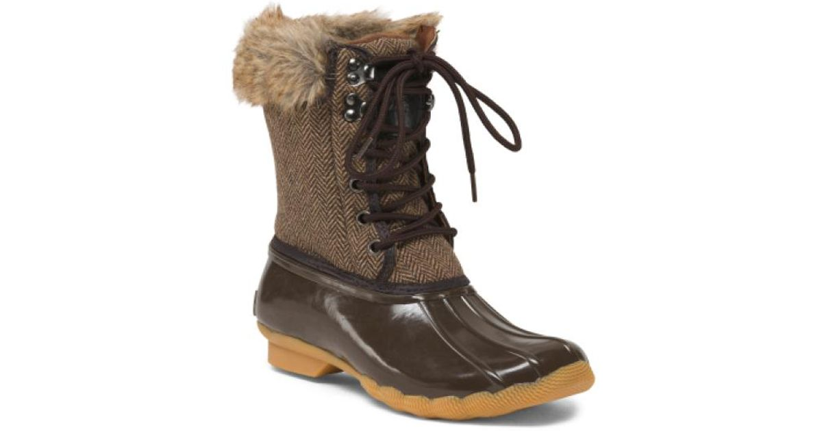 Tj Maxx Brown Lace Up Duck Boots With Faux Fur