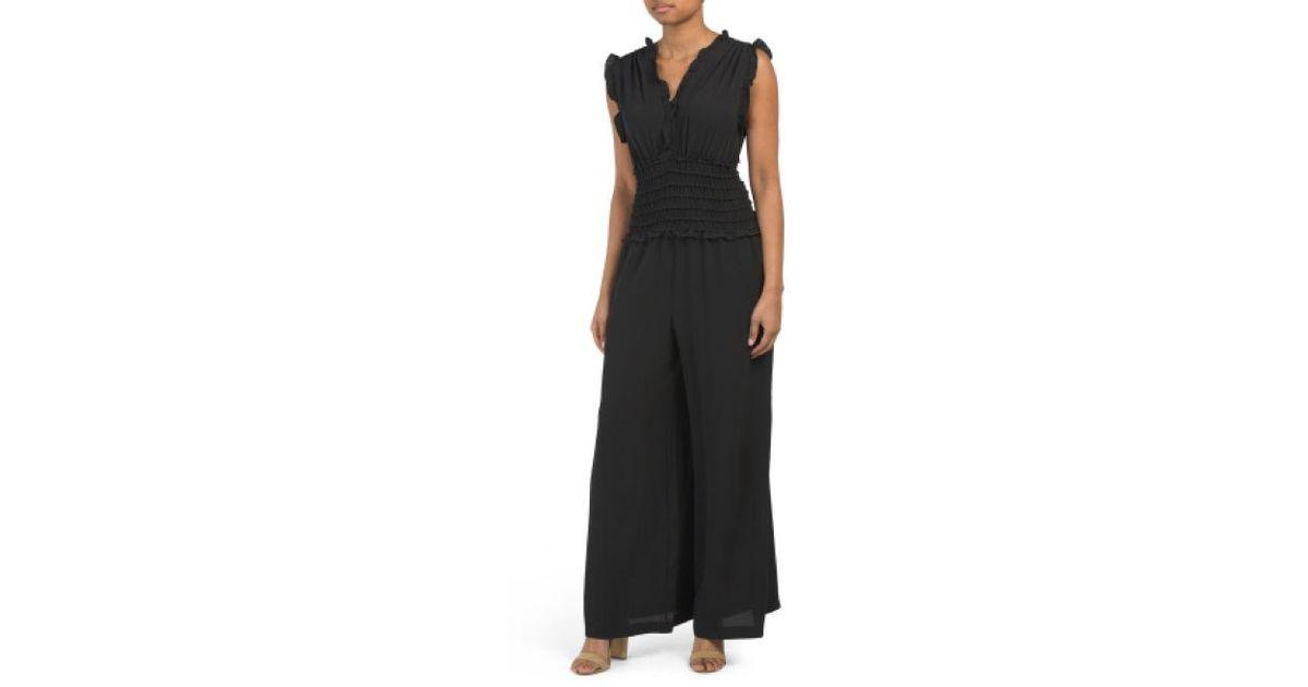 fd7579b8cc71 Lyst - Tj Maxx Solid Bubble Crepe Jumpsuit in Black