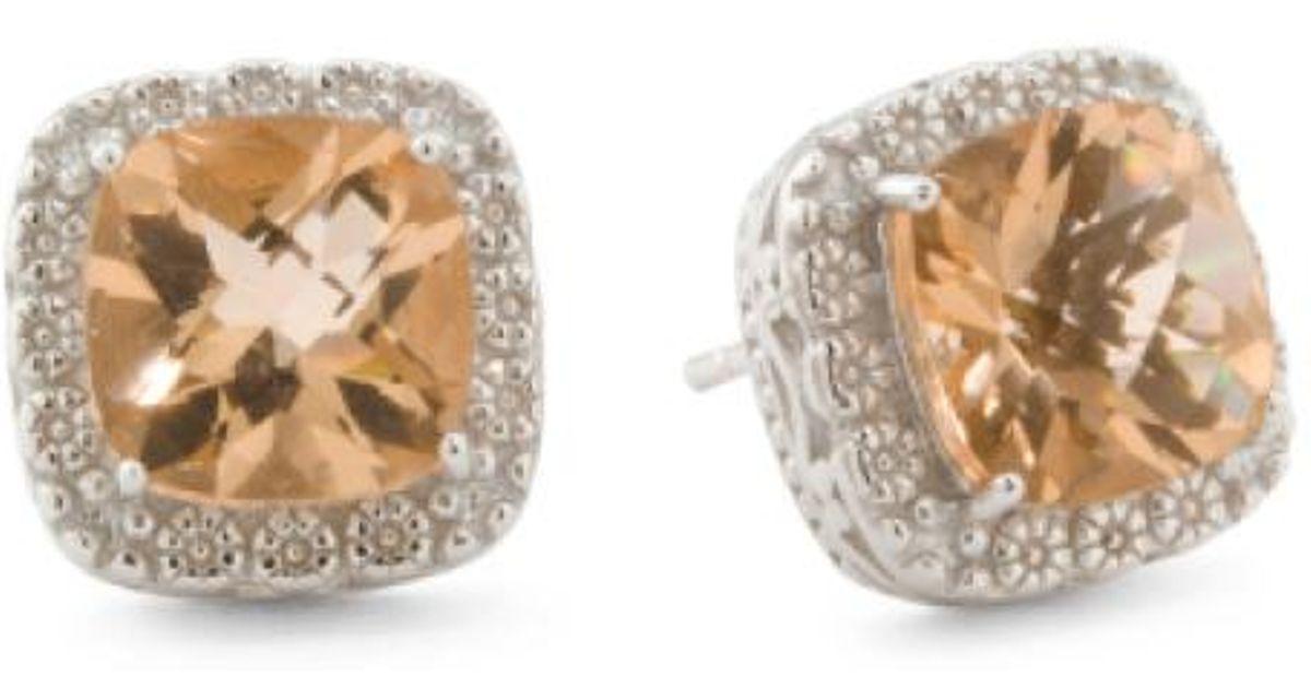 Lyst Tj Ma Sterling Silver Champagne Quartz Cushion Stud Earrings In Metallic