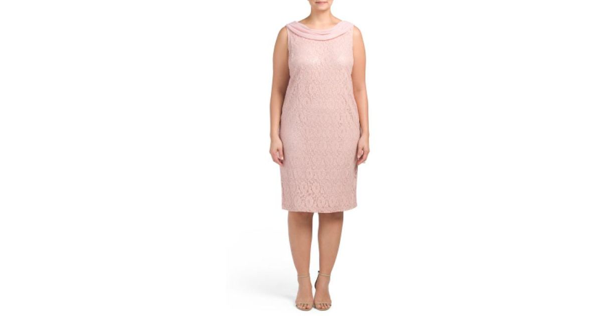 e89e1a43bb9d Tj Maxx Plus Sleeveless Lace Sheath Dress in Pink - Lyst