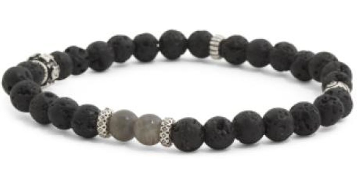 Lyst Tj Maxx Men S Sterling Silver Lava Bead Bracelet In Black For Men