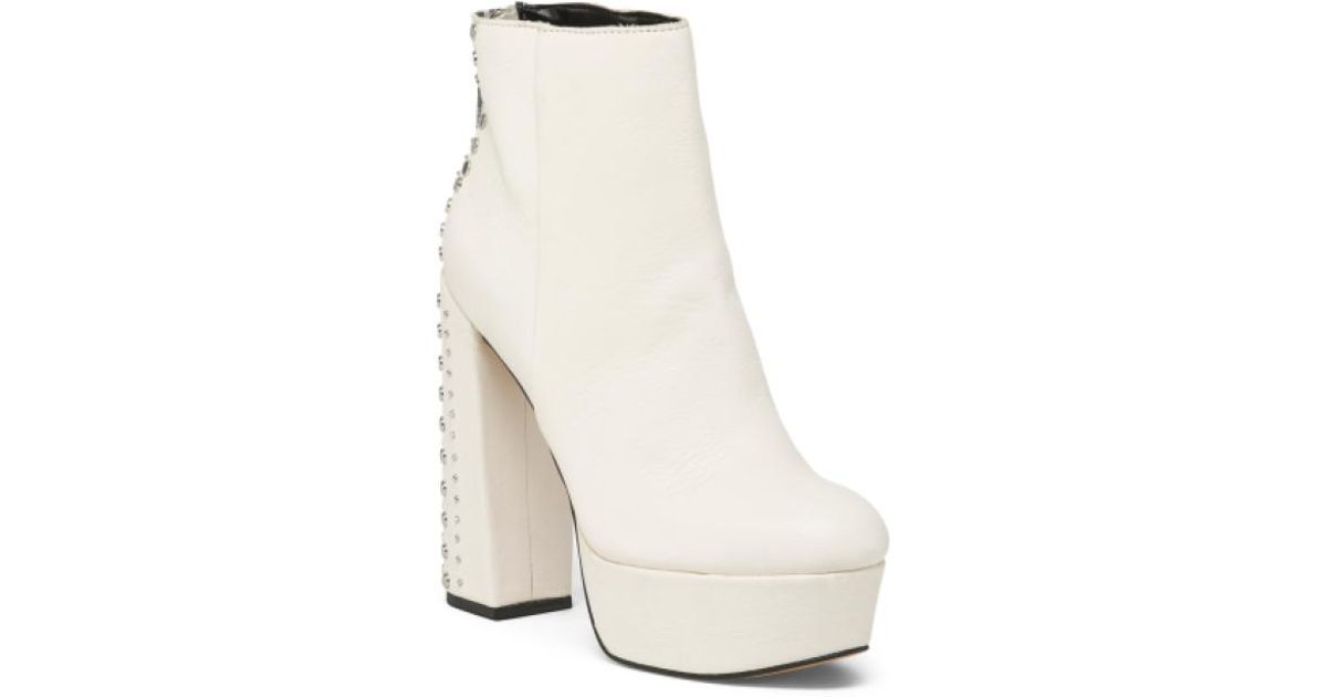 169cbf22f81c Lyst - Tj Maxx Leather Platform Booties in White