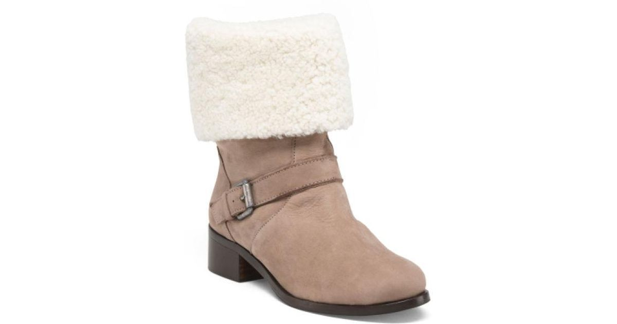 882f9098688 Tj Maxx - Brown Made In Spain Shearling Trimmed Booties - Lyst