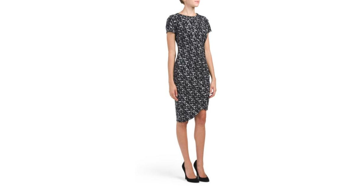 4763cca71e066 Lyst - Tj Maxx Petite Abstract Ruched Sheath Dress in Gray