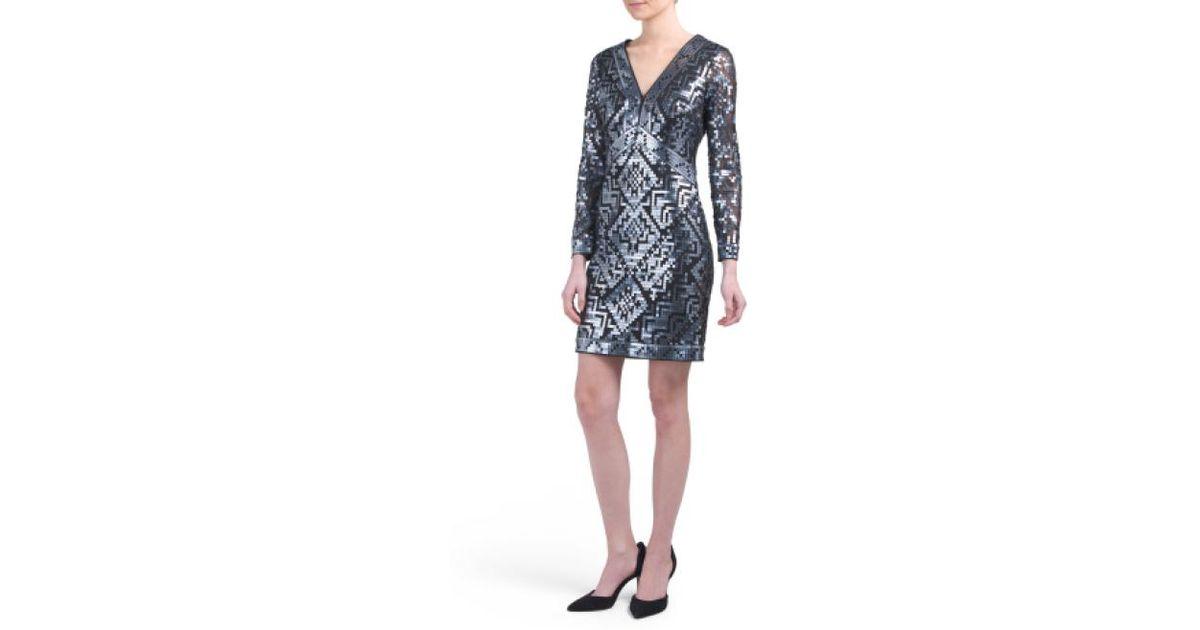 96f657becc6e7 Lyst - Tj Maxx Petite V-neck Beaded Sheath Dress in Black