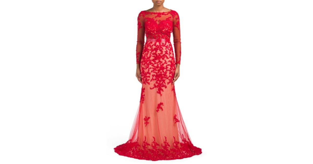 Lyst - Tj Maxx Long Sleeve Lace Gown in Red