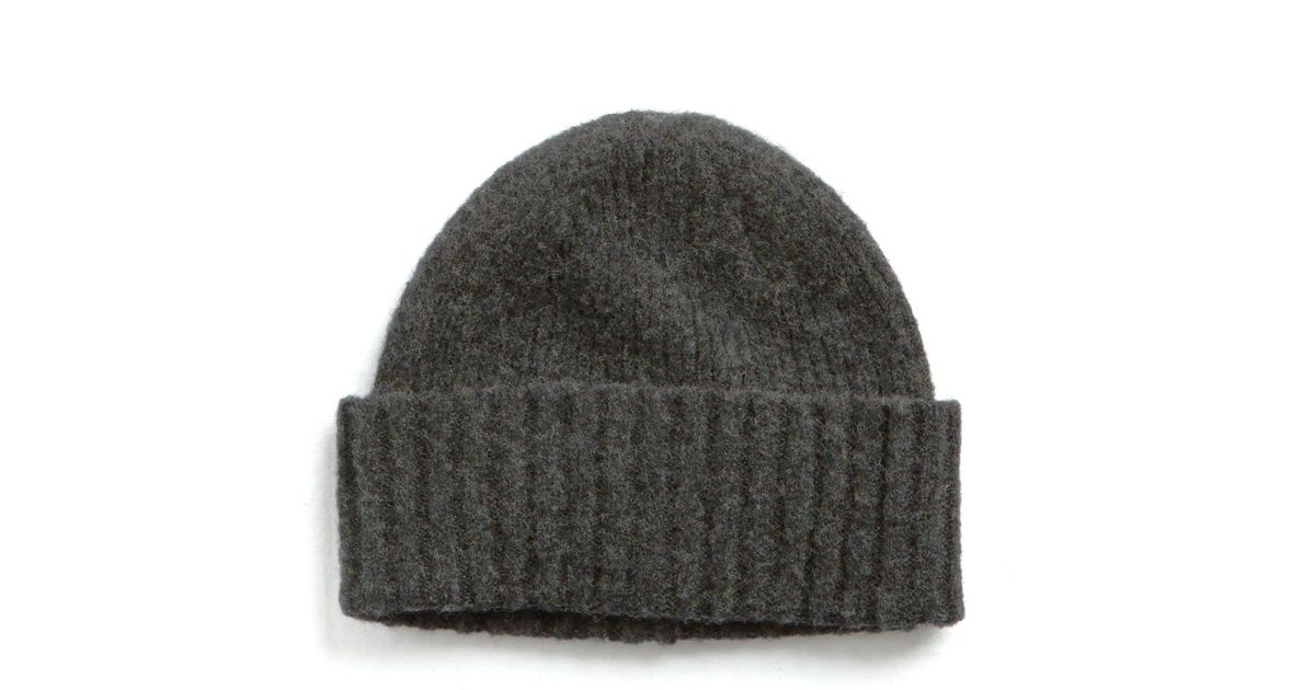 04bbb30b03b Lyst - Drake s Brushed Ribbed Lambswool Hat In Dark Grey in Gray for Men