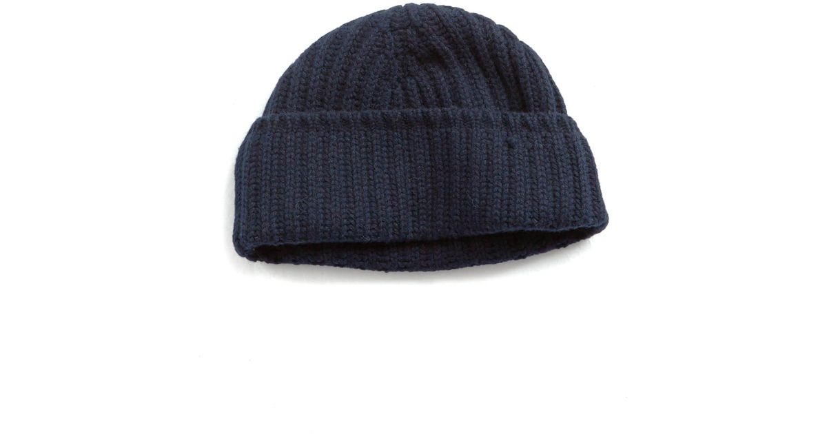 af498c8a804 Drake s Cashmere Ribbed Beanie In Navy in Blue for Men - Lyst