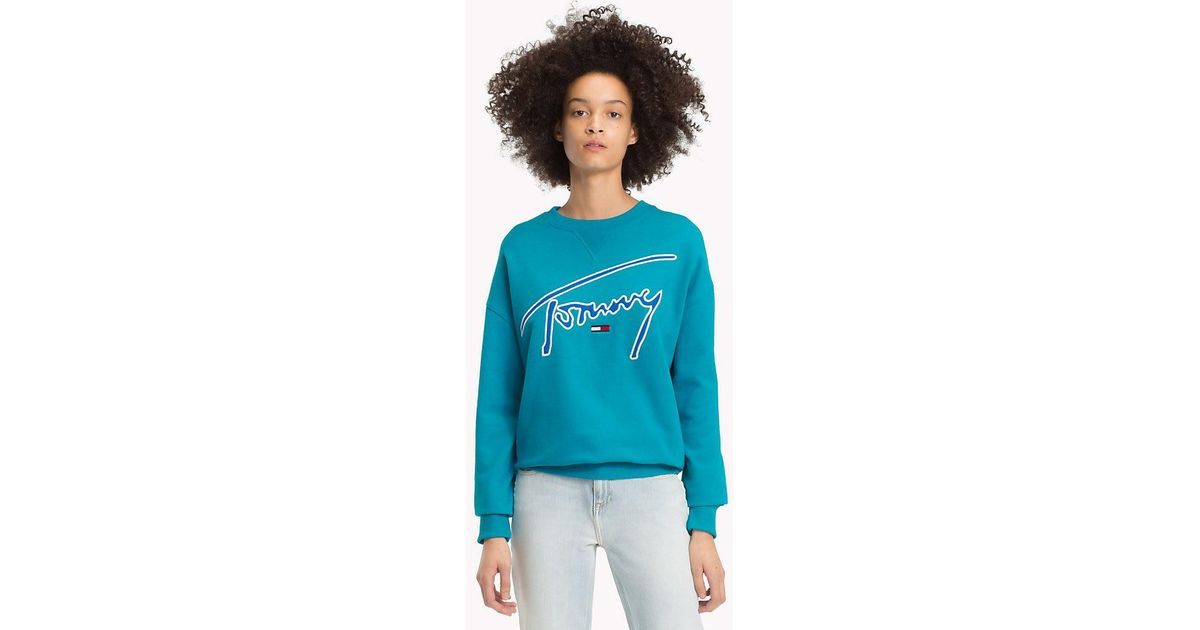 1178f3b8 Tommy Hilfiger Signature Crew Neck Sweatshirt in Blue - Lyst