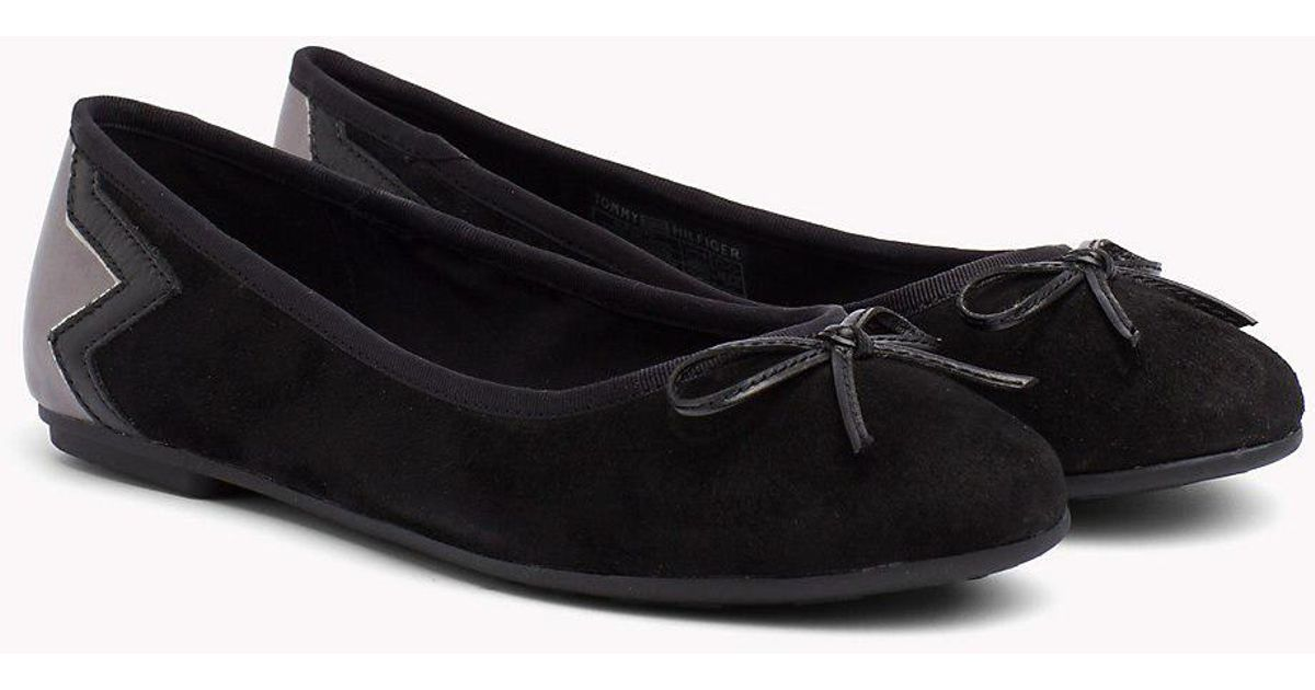 552376ac041a93 Tommy Hilfiger Elevated Suede Ballerina Ballet Flats in Black - Save 50% -  Lyst