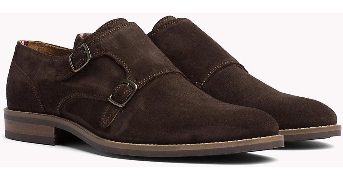 3d853b04552a Tommy Hilfiger Suede Monk Shoes in Brown for Men - Lyst