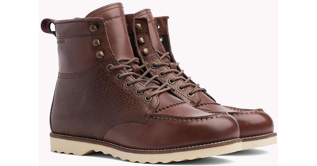 2c46513f2 Tommy Hilfiger Leather Lace-up Work Boots in Brown for Men - Lyst