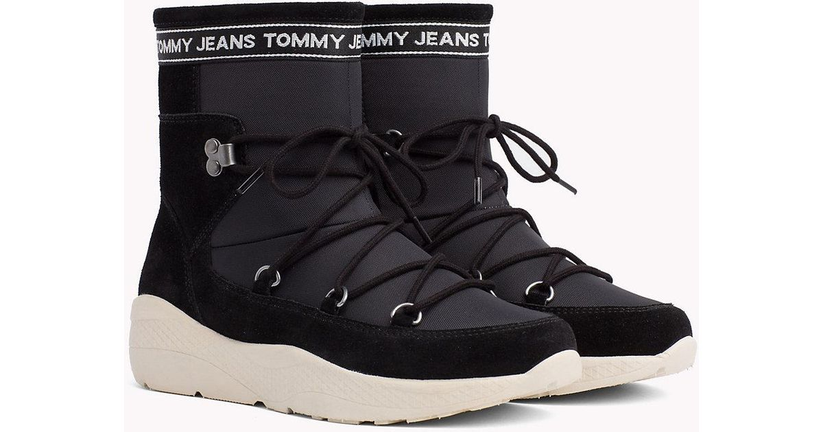 46c9726e7e25a5 Tommy Hilfiger Lace-up Hiking Boots in Black - Lyst