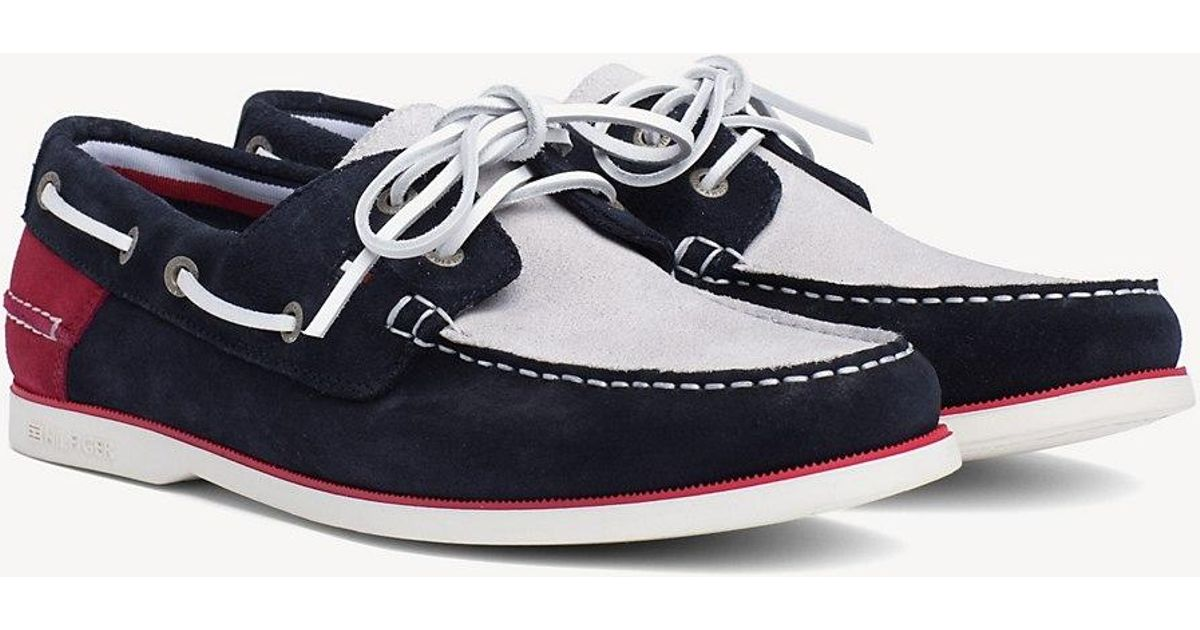 16fa09e45a5 Tommy Hilfiger Classic Suede Boat Shoes in Red for Men - Lyst
